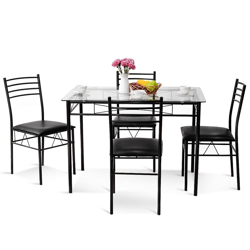 US $197.97 30% OFF|5 Pcs Dining Glass Top Table & 4 Upholstered Chairs  Simple High quality Glass Table Top Dining Room Table Chair Sets HW56030-in  ...