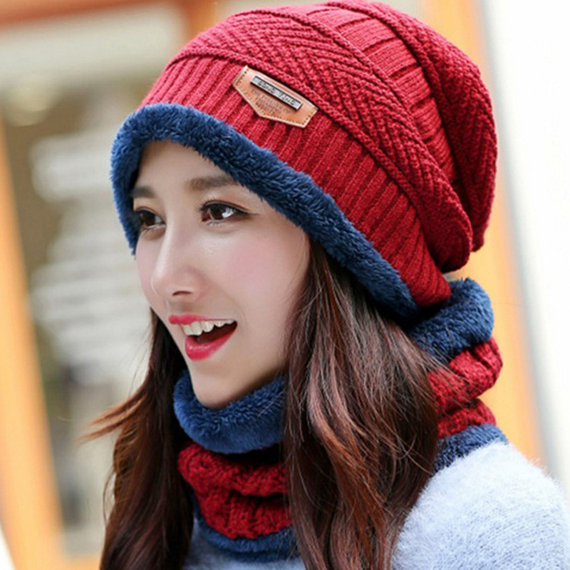 Unisex Warm Cap Kit  Girl Ski Cap Big Wool Fur Lining Ball Knitted Hats Scarf Winter Women Warm Knitted  Baggy Beanie Scarf Hat