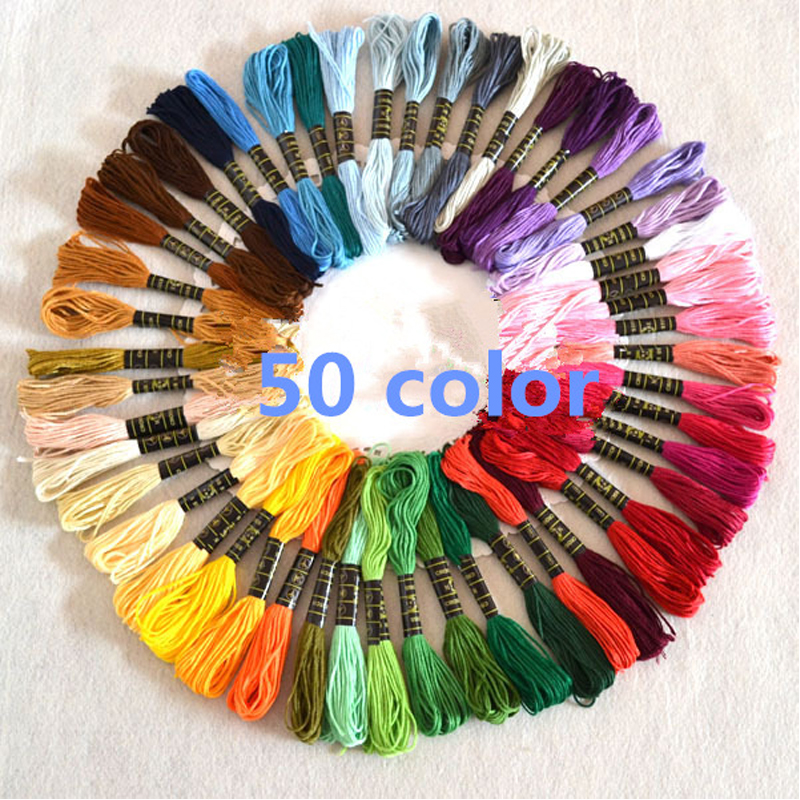 Hot Sale 50pcs Mix Colors Cotton Sewing Skeins Cross Stitch Embroidery Thread Floss Kit DIY Sewing Tools