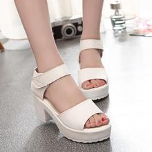 Free shipping big size 35- 41 2015 women's summer high-heeled shoes thick heel open toe platform sandals platform sandals white