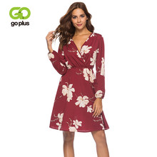 GOPLUS Boho Floral Print Chiffon Dress Women Sexy V Neck Long Sleeve Midi Dress Lady 2019 Spring A-line Elegant Vestidos Female(China)
