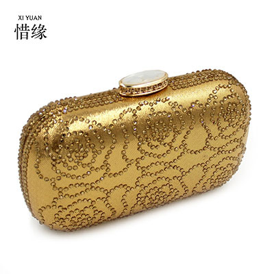 XIYUAN BRAND 2017 hot sale Western style New Diamonds evening clutch bags gold Handcraft crystal clutch purse women party bags
