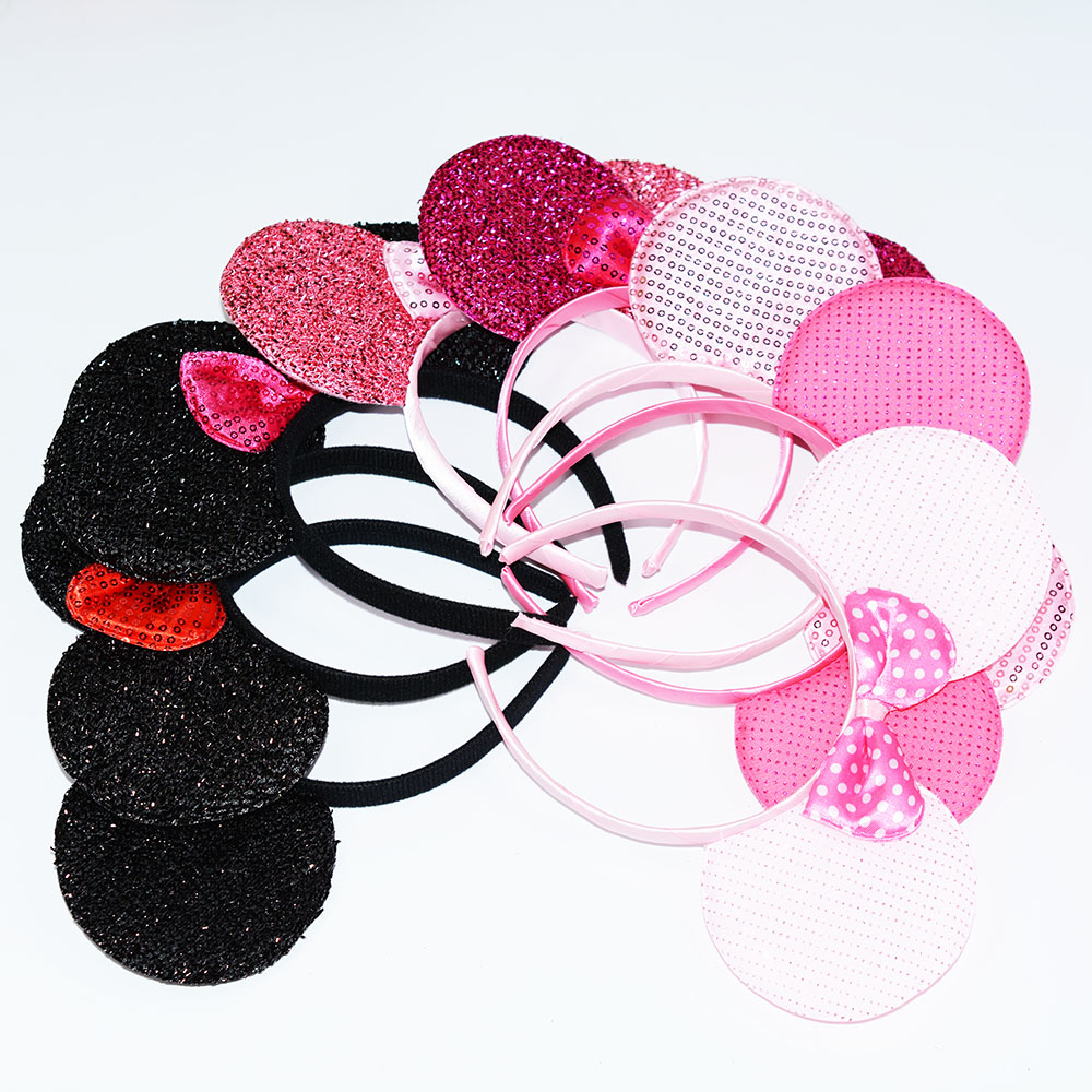 24pcs Minnie Mouse Ears Headbands Black Pink Bow Party Favors Costume Mickey