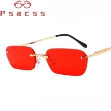 Psacss Metal Rimless Small Sunglasses Men Women Vintage Luxury Brand Designer High Quality Male Female Retro Sun Glasses UV400
