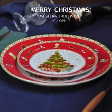 Ceramic Christmas Tree Red Round Plates Dishes Beef Dishes Dessert Dish Fruit Snack Plate Home Dinnerware Decoration стоимость