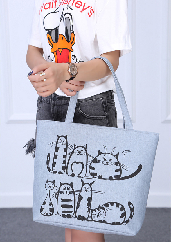Cat Design Large Canvas Handbag Shoulderbag
