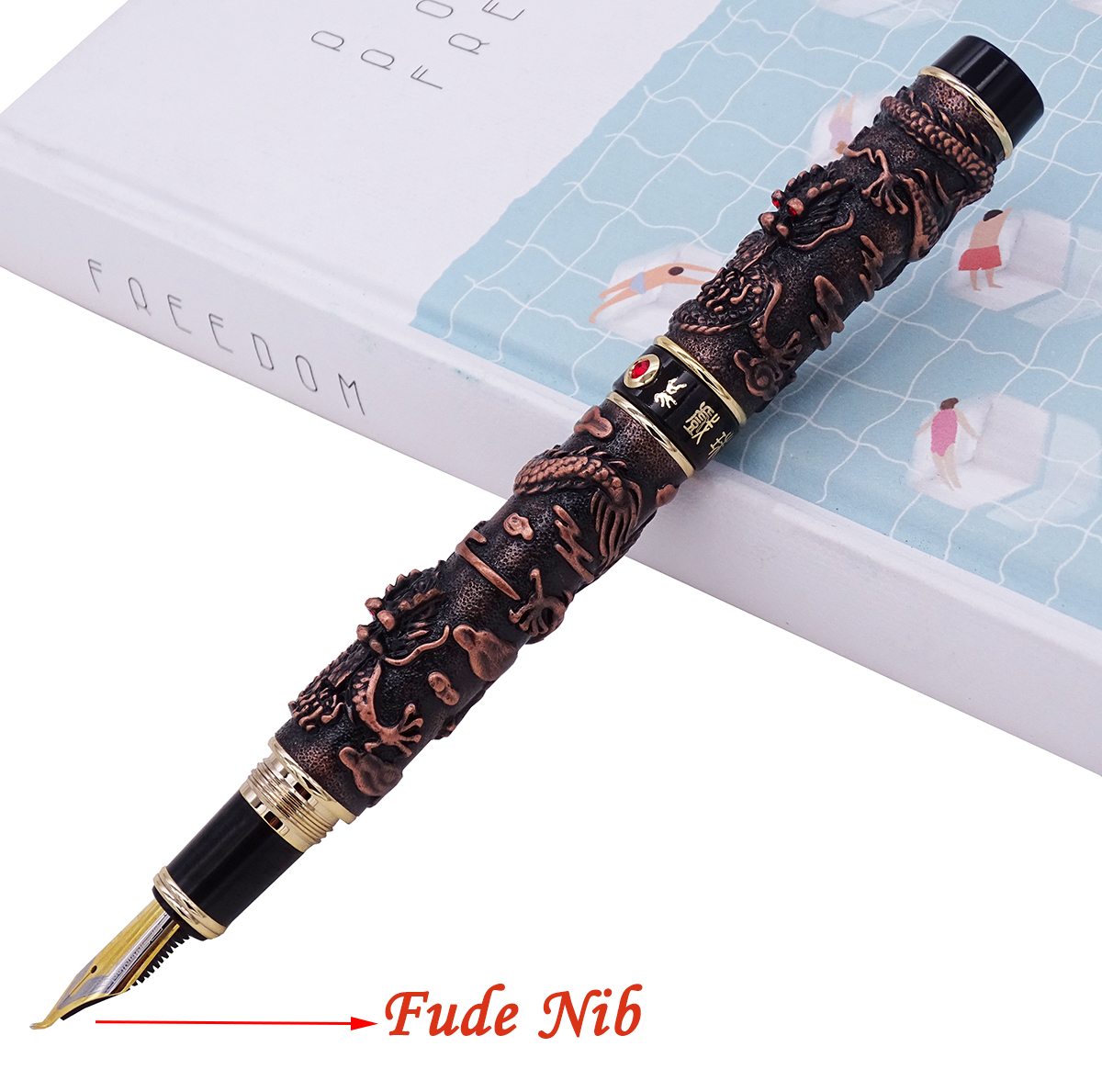 Jinhao Vintage Red Copper Fountain Pen Double Dragon Calligraphy Fude Nib Metal Carving Embossing Heavy Gift Pen CollectionJinhao Vintage Red Copper Fountain Pen Double Dragon Calligraphy Fude Nib Metal Carving Embossing Heavy Gift Pen Collection