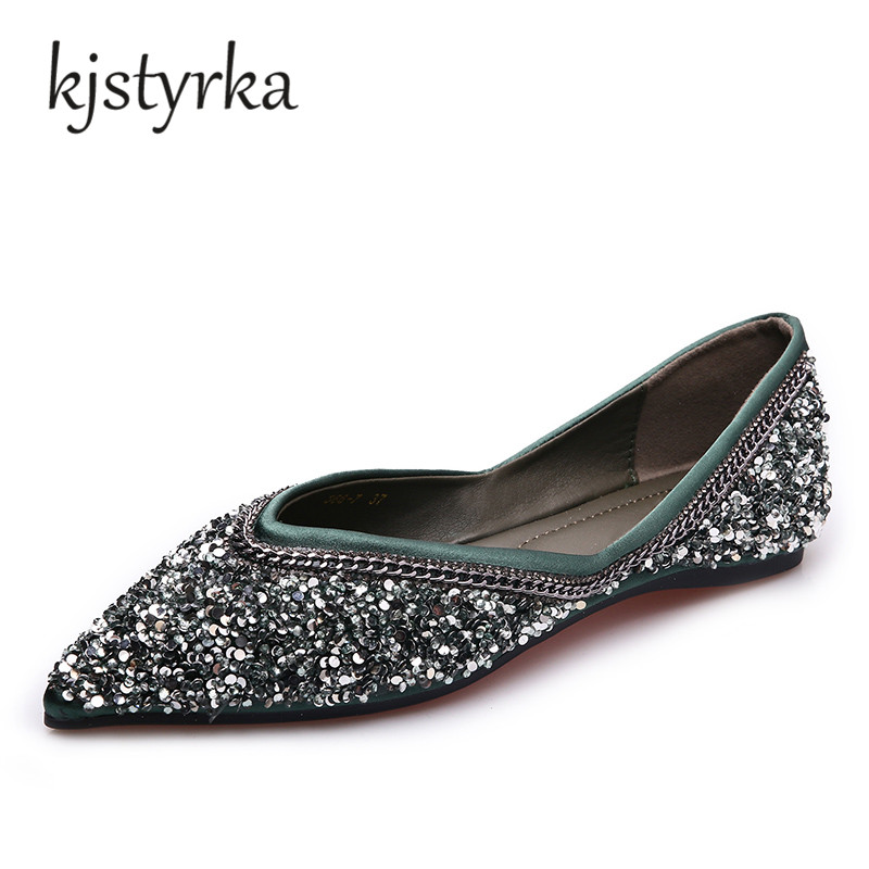 Kjstyrka Bling Gitter pointed toe flat heel slip-on shoes woman single shoes women fashion flat shoes Spring autumn 2018 siketu spring and autumn pointed toe flat heel sweet bow shoes single shoes women fashion women s flat shoes