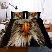 HELENGILI 3D Conjunto Águia Impressão Set Capa de Edredão Bedcloth Cama com Fronha de Cama Set Têxteis Lar # DW-05