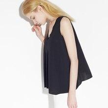 C+IMPRESS High Quality Women's Tops Summer Brand V-neck  Tee  Casual  Sleeveless Black T-Shirts