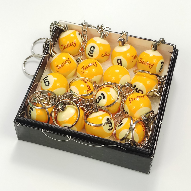 free shipping 16pcs high quality Phenolic resin Billiard keychain 25mm Pool Ball in NO8 NO9 keyrings