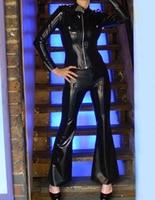 Kobiety Topy Płaszcz I Spodnie Sexy Fetysz Latex Rubber Czarny kobieta Policja Kurtka I Spodnie Plus Size Gorąca Sprzedaż Dostosować usługi