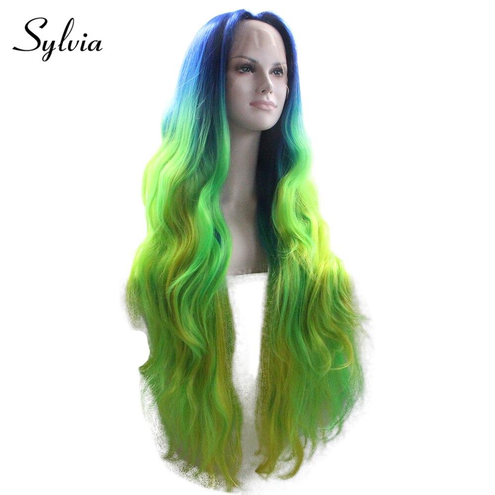 シルビア青、緑、黄色オンブル合成レースフロントかつら 180% 密度耐熱性繊維の毛  グループ上の ヘアエクステンション & ウィッグ からの 合成なしのレースのかつら の中 2