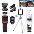 Phone Lens Kit 12X Telephoto Zoom Lentes Telescope Fisheye Wide Angle Macro Lenses Microscope For iPhone 6 6s 7 Huawei HTC