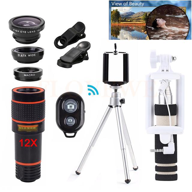 Teléfono Kit de Lentes Telefoto 12X Zoom Telescopio de Lentes de ojo de Pez de Ancho ángulo macro lentes de microscopio para iphone 6 6 s 7 huawei htc
