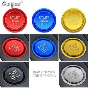 Image 3 - Ceeyes pegatinas de diseño de complemento para el coche, funda con botón de arranque y parada de motor para Audi A6 B8 A6L Q5 8R A4 C7 B9 A7 BT 2018