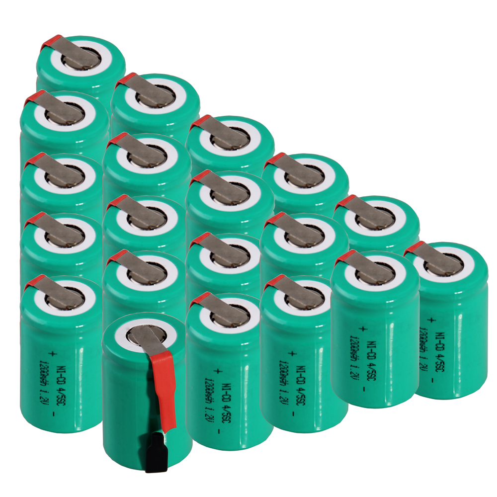 20 pcs 4/5SC 1200mah 1.2v battery NICD rechargeable batteries for electric screwdriver electric drill for emergency light toy