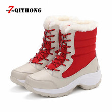 цены 2017 Women Snow Boots Winter Warm Boots Thick Bottom Platform Waterproof Ankle Boots For Women Thick Fur Cotton Shoes Size 35-40