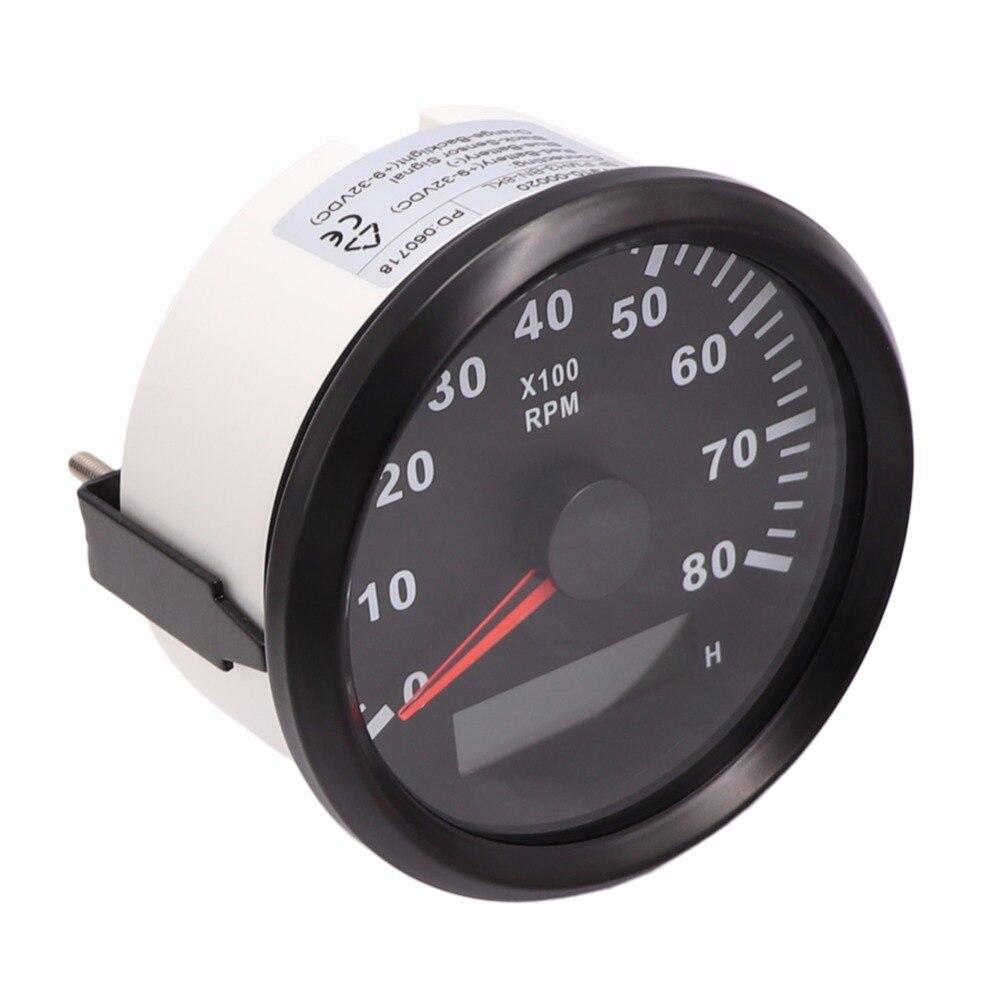 8000 RPM Universal 85mm Digital Tachometer Gauge 9-32 V Tachometer RPM Gauge fit Auto Boat Gasoline / Diesel Engine Tachometer