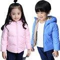 Kerea 2016 Зимой Дети Вниз Куртки Мальчики Девочки Симпатичные Капюшоном Пальто 2-7Y Дети Вниз Парки Тепловой Детская Одежда Открытый SC630