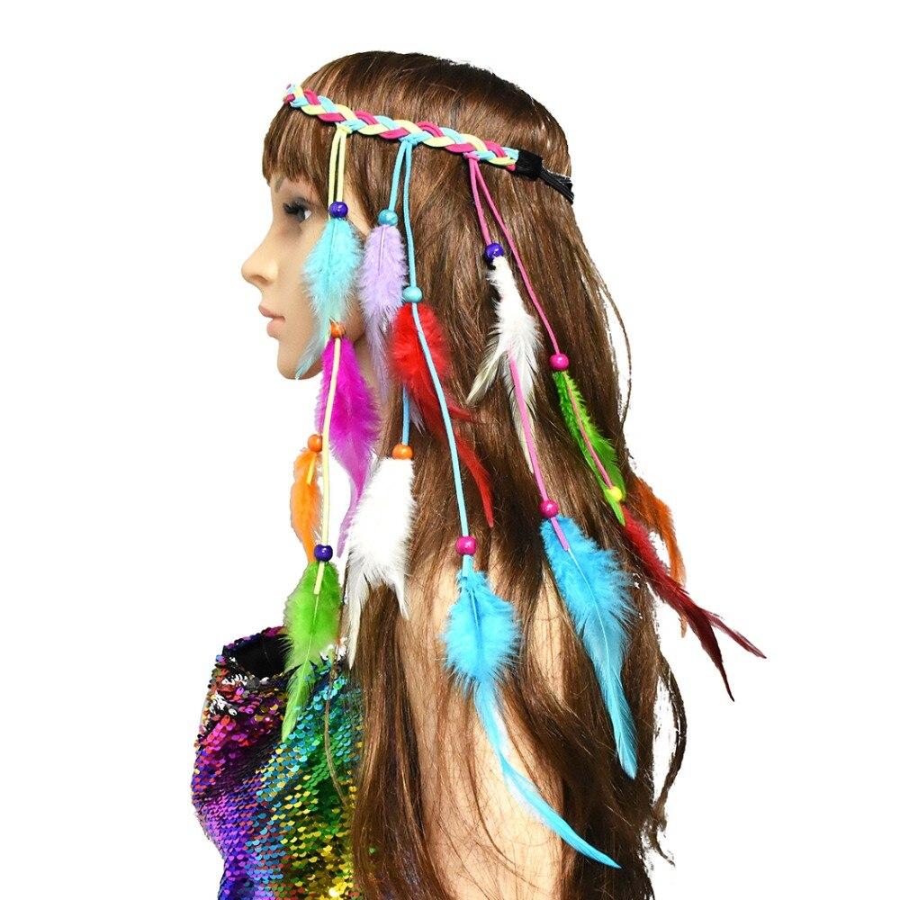 Women/'s Boho Feather Headdress Hippy Indian Headband Festival Handmade Hairband