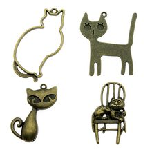 6pcs/lot Big Cat Charms Pendant Antique Bronze Color Cat Charm Pendants Jewelry Accessories Diy Big Cat Charms(China)