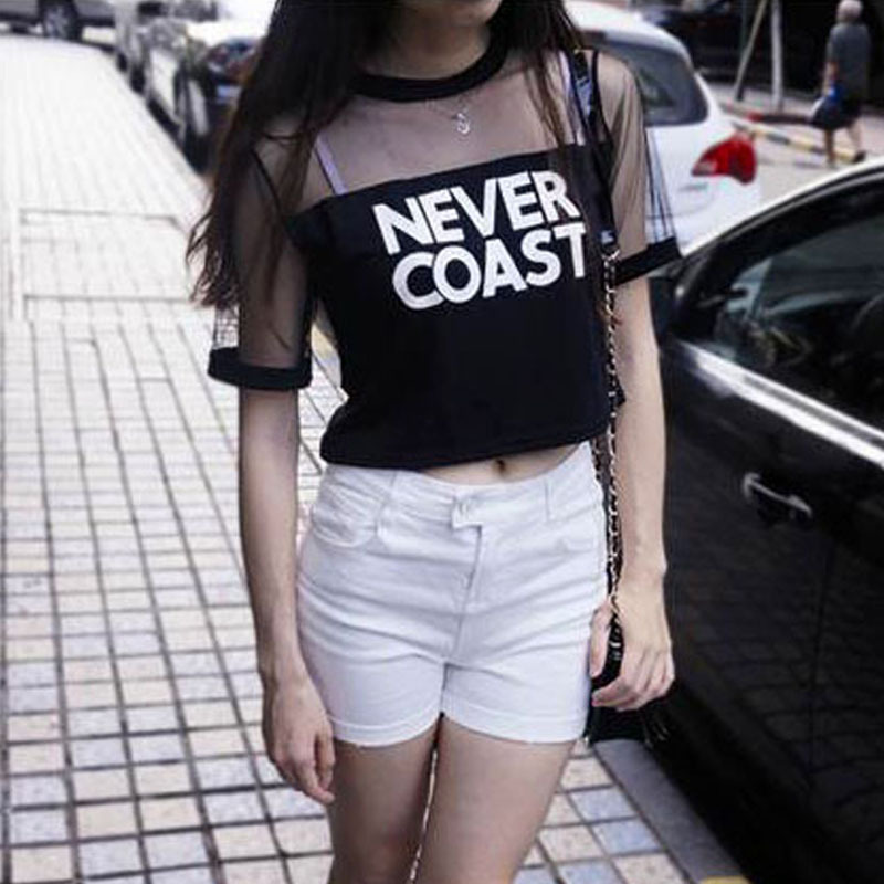 Summer Casual Women See-through Crew Neck Short Sleeve Loose Crop T-shirts Hot Sale