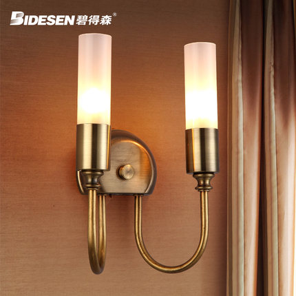 Double Head Northern Europe Contracted Style Gold Iron Wall Lamp Loft Bedside Light Aisle Decoration Lamp Free Shipping northern europe retro loft style wrought iron adujstable wall light coffee shop bars light aisle decoration lamp free shipping