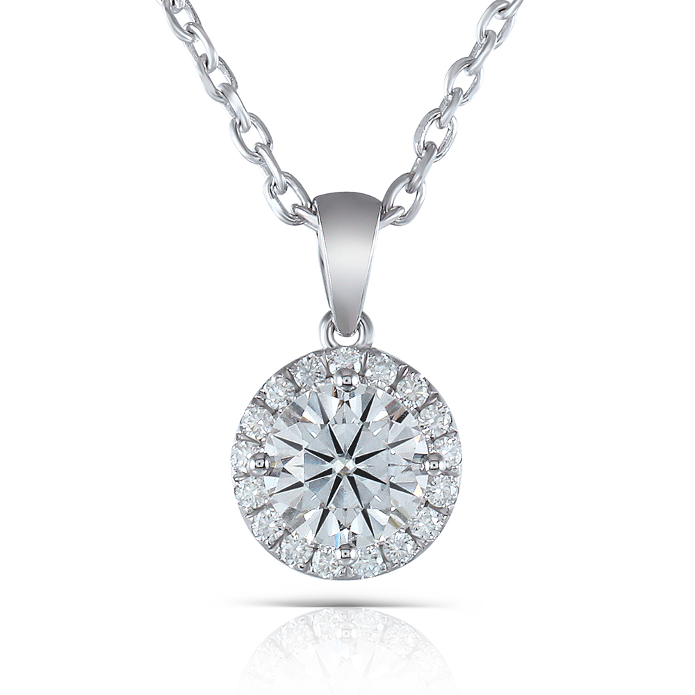 TransGems 1 Carat Center 6.5mm F Color Lab Grown moissanite Solitare Slide Pendant Necklace for Women Solid 10K White Gold moissanite pendant 18k 750 white gold lab grown moissanite diamond pendant drop bezel necklace chain for women jewelry