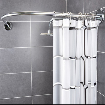 Free shower curtain+Curved corner shower curtain rod free punching telescopi curved bathroom hanging curtain thick waterproof