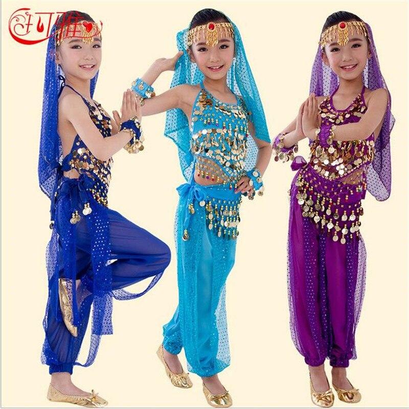 Nové děti břišní taneční kostýmy pro děti ručně vyráběné hedvábné břišní tanec dívky Bollywood indický výkon hadřík velkoobchod