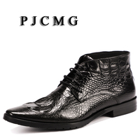 PJCMG New Spring/Autumn Men Genuine Leather Lace Up Pointed Toe Black/Red Bullock Patterns Oxford Dress Shoes For Men Boots