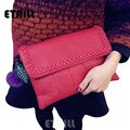 2017 Red Knitted Real leather Women's Wristlets Clutch Bag Famous Brands Shoulder Designer Evening Day Clutch Quilted Flap Bag