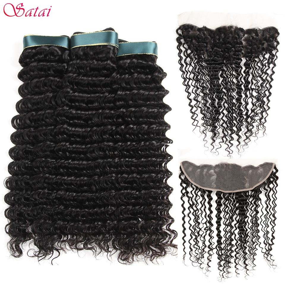 Satai Brazilan Deep Wave 3 Bundles With Frontal Brazilian Hair 100 Human Hair Bundles With Closure