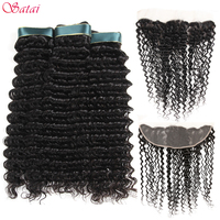 Satai Brazilan Deep Wave 3 Bundles With Frontal Brazilian Hair 100% Human Hair Bundles With Closure Non Remy Hair Extensions
