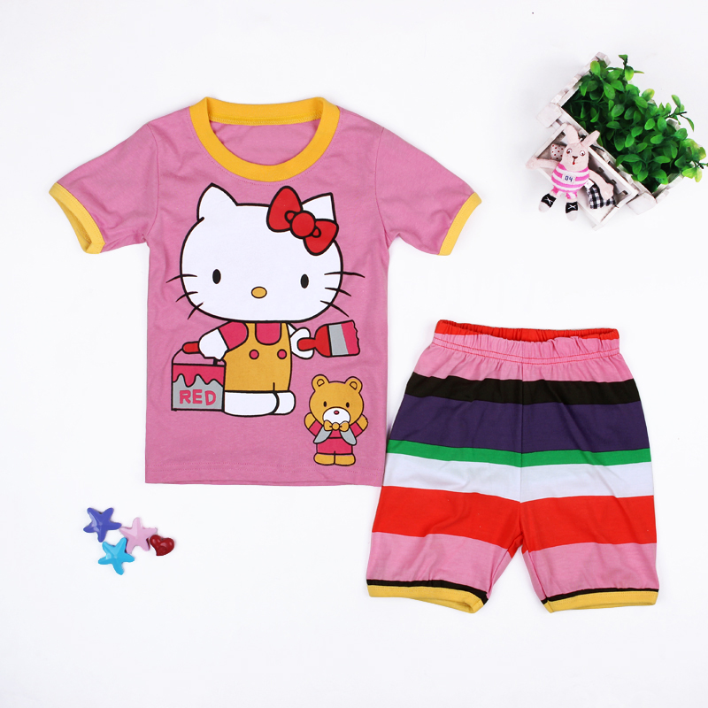 639124097 New Summer Cartoon Hello Kitty Girls 2PCS Pajamas Set Short Sleeved T shirt+Striped  Shorts Cotton Girls Clothes Set for HomeDS24-in Clothing Sets from ...
