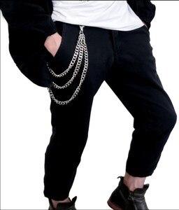 Три нити, металлический кошелек с цепочкой, Серебристый, 3-слойный, в стиле рок, панк, с крючком, байкерские брюки, брюки, пояс с цепочкой для к...