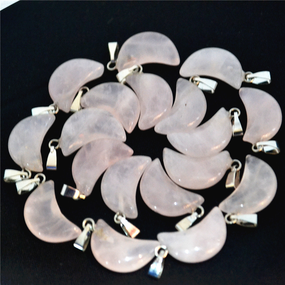 Best Selling Fashion Natural Stone Pendants Charms Pink Crystal Moon Crescent For Jewelry Making 36PCS Wholesale Free Shipping