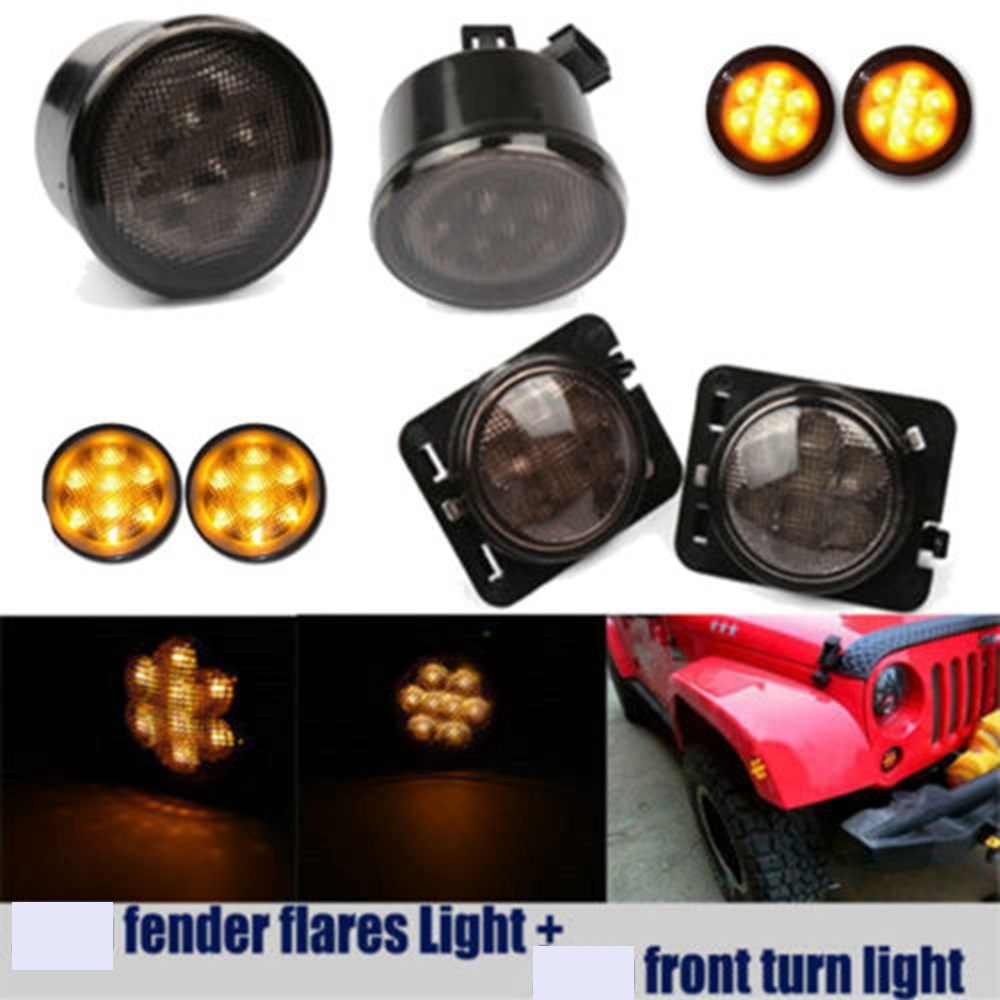 Pair LED Front Smoked Turn Signal Light + 2 X Fender Flare Light Amber For 2007-2015 Jeep Wrangler 4pcs black led front fender flares turn signal light car led side marker lamp for jeep wrangler jk 2007 2015 amber accessories