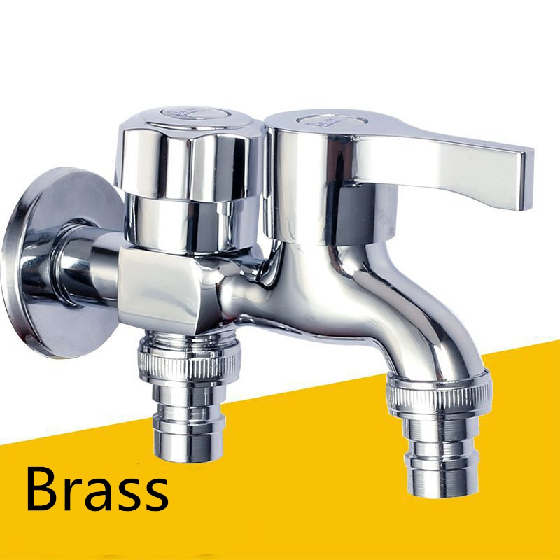1pc Washing Machine Faucet Brass Tap Chrome Plated Double Water Outlet Garden Bathroom Bidet Faucet Fast On Faucets