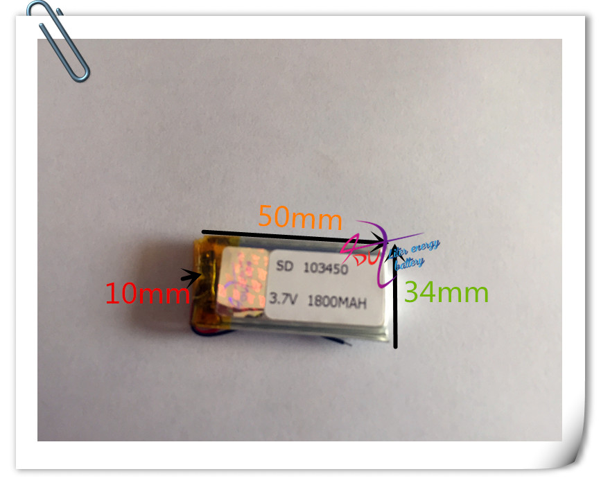 10 pcs 3.7V 1800mAh 103450 Lithium Polymer Li-Po Rechargeable Battery For GPS PSP DVD mobile Cell copter tablet PC power bank 3 7v lithium polymer battery 605060 065060 gps ebook mobile power 2000mah