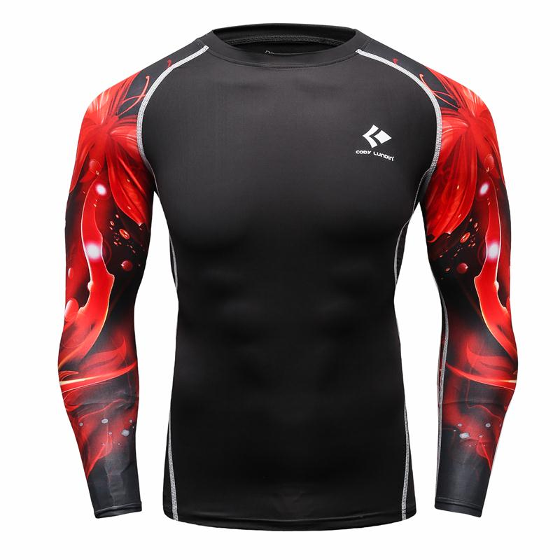 Men Compression Shirts Bodybuilding Skin Tight Long Sleeves Jerseys Clothings MMA Crossfit Exercise Workout Fitness Sportswear