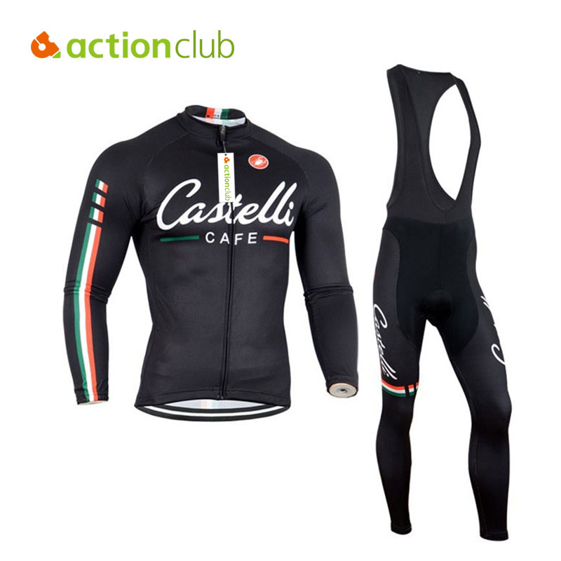 Actionclub Mens Winter Cycling Jerseys Sets Straps Cycling Suit Long sleeve Bicycle Bike Clothing Male Breathable Running Set high quality whole set eva anti crash goalkeeper sets breathable long sleeve goalkeeper jerseys soccer sets