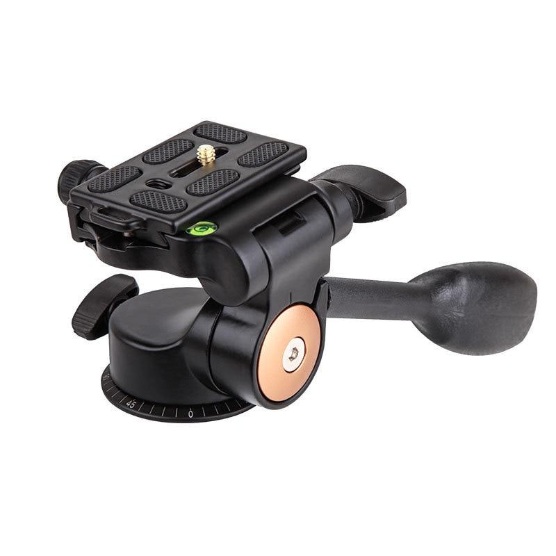 Q08 Aluminum 3-Way Fluid Head Rocker Arm Video Tripod Ball Head+ Quick Release Plate for DSLR Camera Tripod Monopod