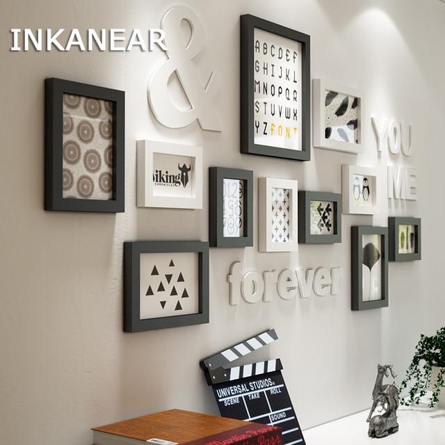 Bingkai Gambar Dekorasi Rumah Modern Ruang Tamu Fashion Lukisan Foto Set Surat Kayu Solid Dinding