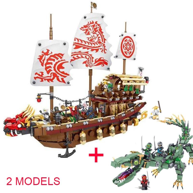 2 set Ninja Film das Schicksal der Bounty Schiff & Green Dragon Modell Bausteine Kompatibel Ninjagoinglys Kinder Spielzeug für kinder-in Sperren aus Spielzeug und Hobbys bei  Gruppe 1