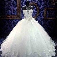 C V Sleeveless Off Shoulder Princess Wedding Dress 2017 Real Photo Tube Top Crystal Beading Brief