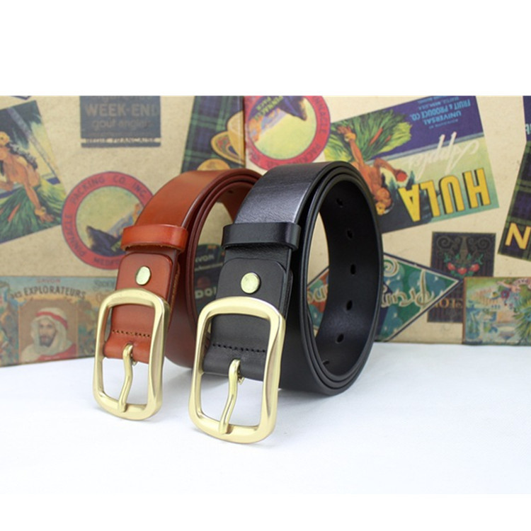 Men's Needle Buckle Belt Pure Copper Buckle Leather Belt Factory Direct Sales Classic Two-layer Cowhide Hundred Belt