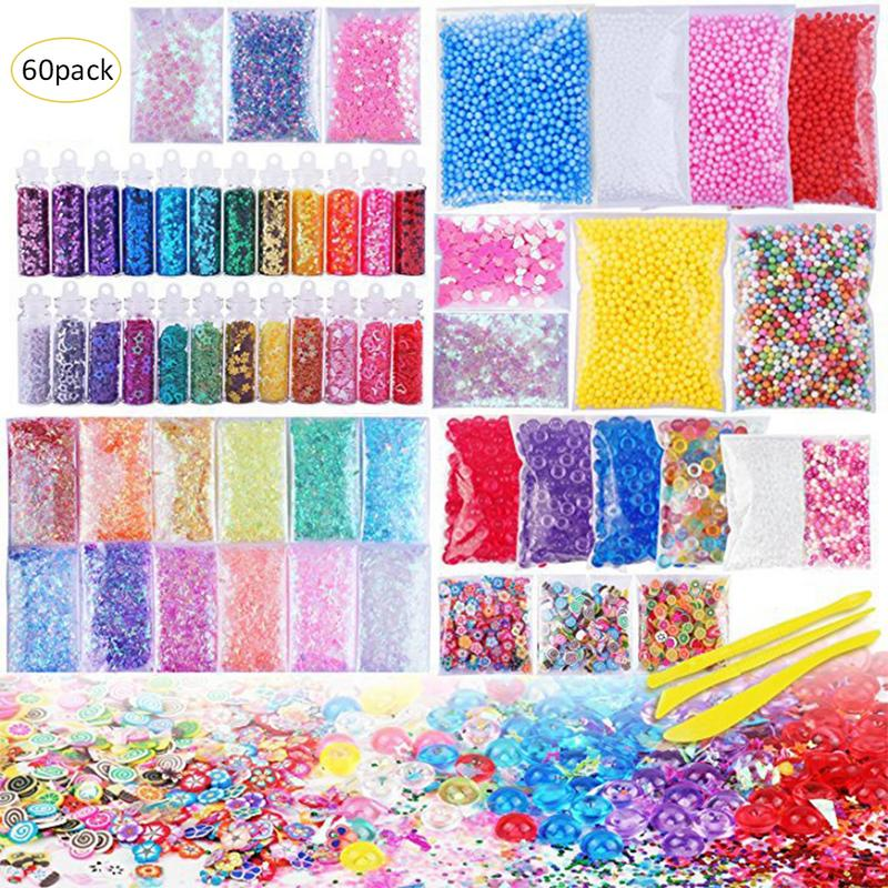 Slime Supplies Kit, 60 Pack Slime Beads Charms Slime Tools For Slime Making DIY Craft Children's Funny Toy Christmas Gift