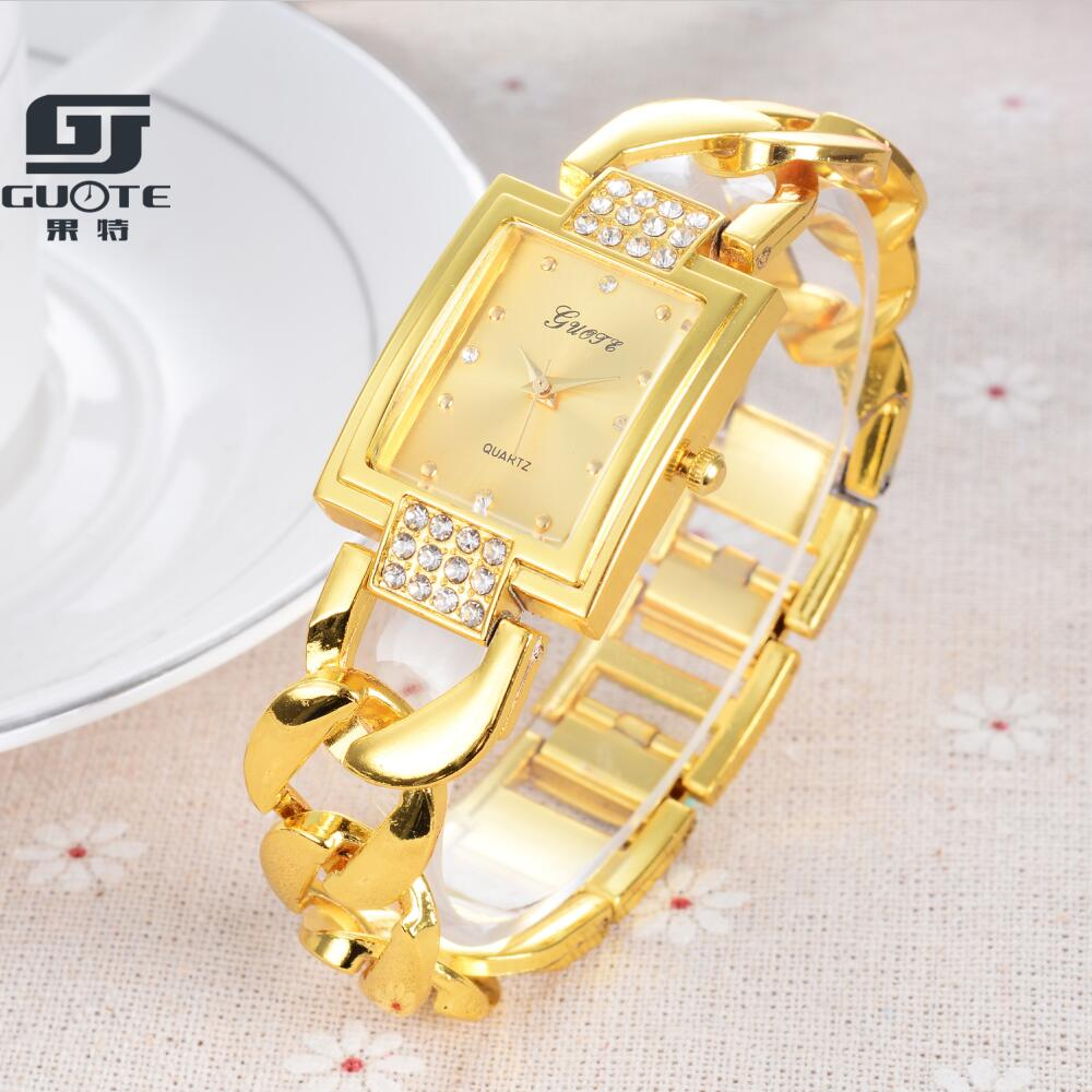 Relogio Feminino 2018 New Watch Luxury Brand GUOTE Quartz Watches Women Gold Stainless Steel Crystal Clock Dress Montre Femme 2016 new brand gold crystal casual quartz watch women stainless steel dress watches relogio feminino female clock hot 77